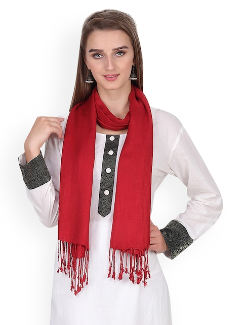 Anekaant Women Maroon Solid Stole