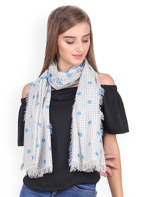 Anekaant Women White & Blue Woven Design Stole