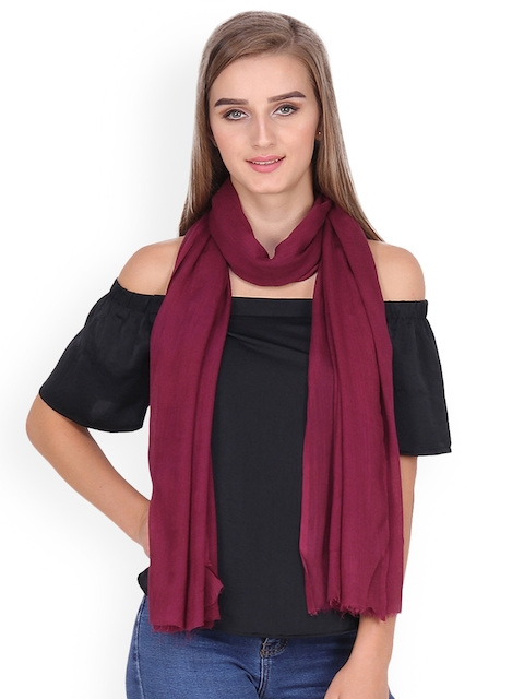 Anekaant Women Burgundy Solid Stole