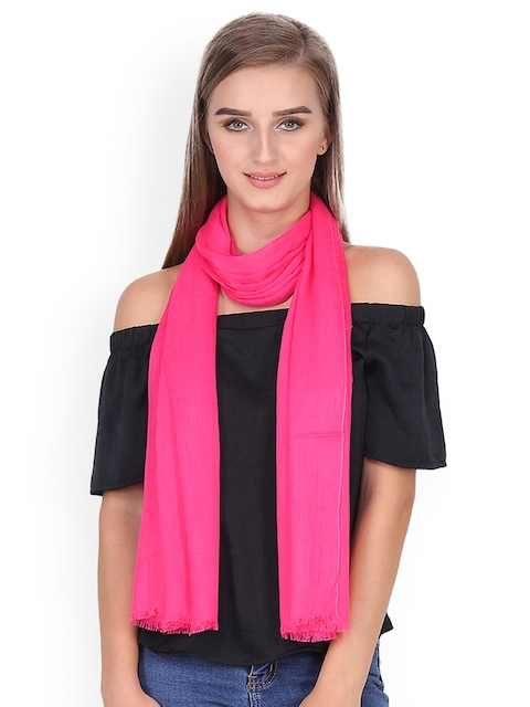 Anekaant Women Pink Solid Stole