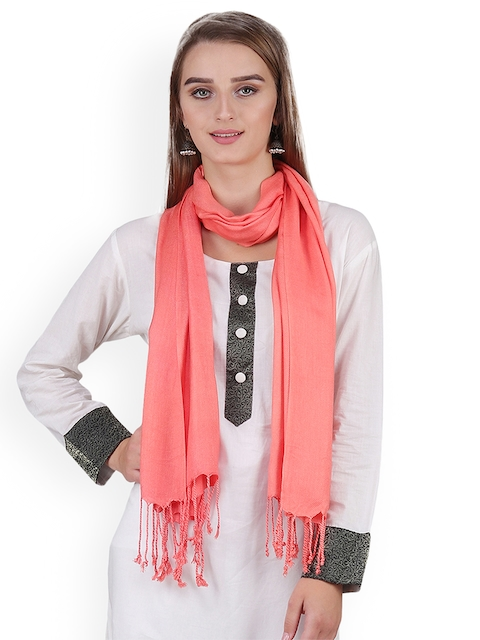 Anekaant Women Coral Orange Solid Stole