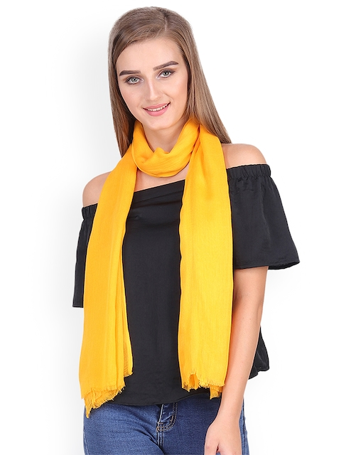Anekaant Women Yellow Solid Stole