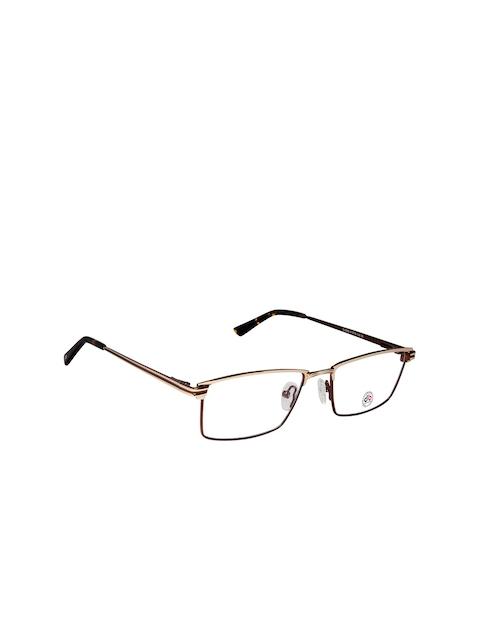 David Blake Unisex Gold-Toned & Brown Solid Full Rim Rectangle Frames EWDB1307