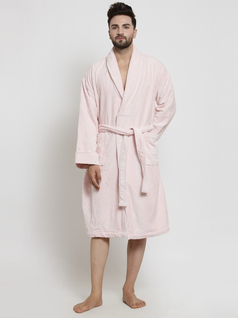 Trident Men Pink Solid Bathrobe