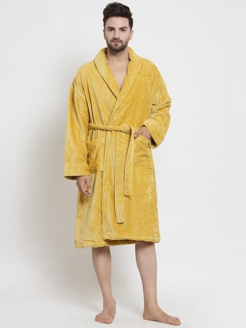 40%off Trident Men Golden-Coloured Solid Bathrobe cae27accb
