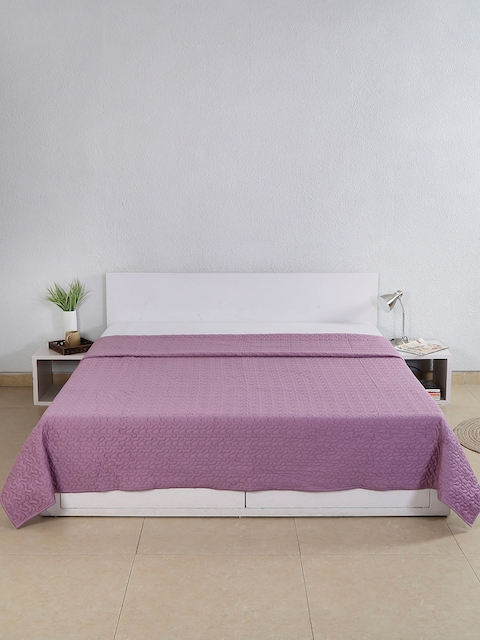 House This Lavender Textured Cotton Double Bed Cover