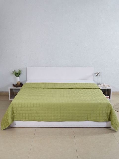 House This Green Textured Cotton Double Bed Cover