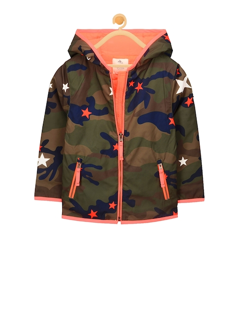 Cherry Crumble Kids Olive Green Printed Tailored Jacket