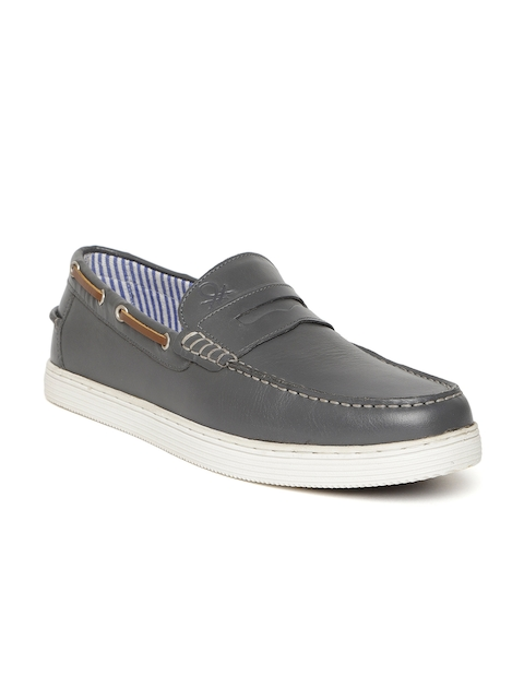 United Colors of Benetton Men Grey Leather Loafers