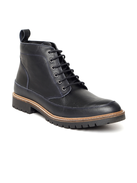 United Colors of Benetton Men Navy Blue Solid Leather Mid-Top Flat Boots