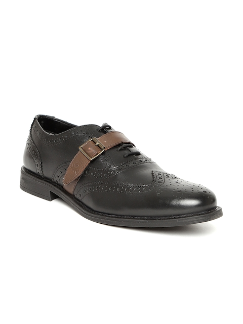 United Colors of Benetton Men Black Leather Brogues