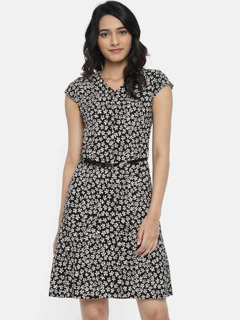 Park Avenue Woman Women Black Printed A-Line Dress