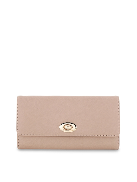 Lavie Women Beige Solid Three Fold Leather Wallet
