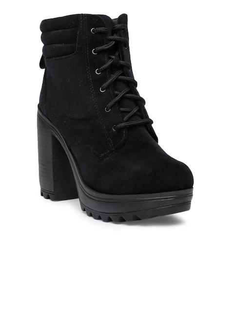 Catwalk Women Black Solid Suede Heeled Boots