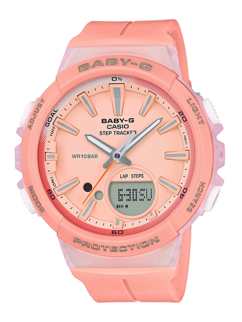 CASIO Women Peach-Coloured Analogue and Digital Watch BX096