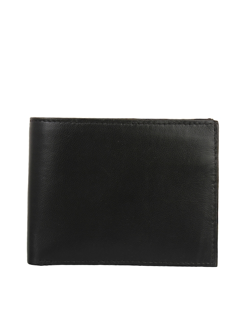 Swiss Design Men Black Textured Leather Two Fold Wallet