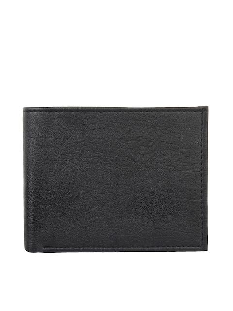 Swiss Design Men Black Textured Two Fold Wallet