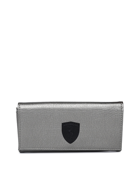 Puma Women Grey Solid Two Fold Wallet