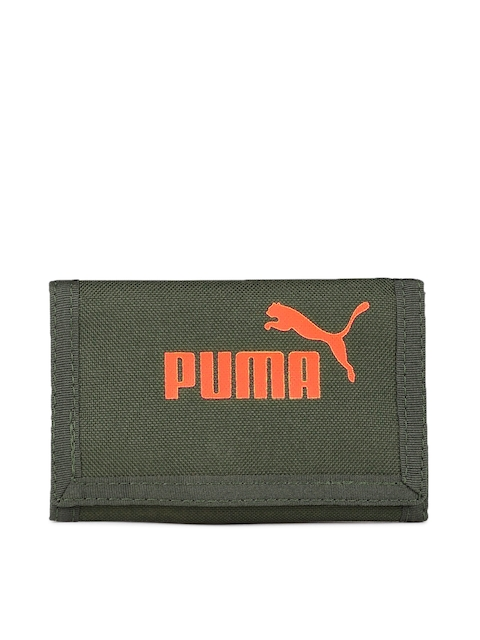 Puma Men Olive Green Printed Three Fold Phase Wallet