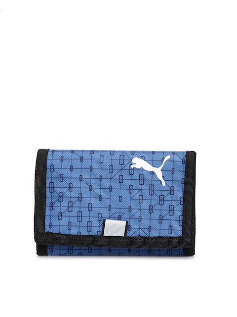 Puma Men Blue Printed Three Fold Wallet