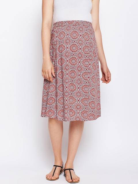 Oxolloxo Rust & Grey Printed Pleated Knee-length Maternity Skirt