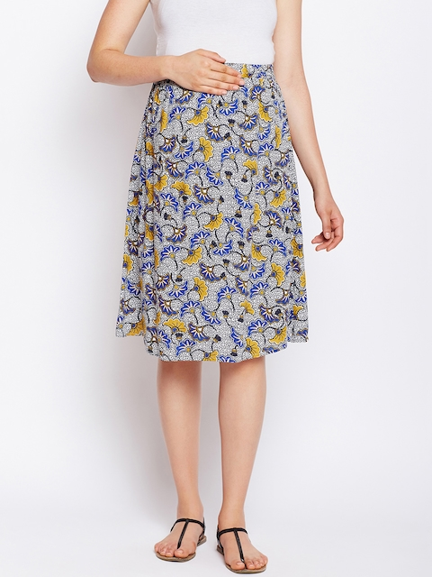 Oxolloxo Blue & Yellow Floral Printed Maternity A-Line Skirt