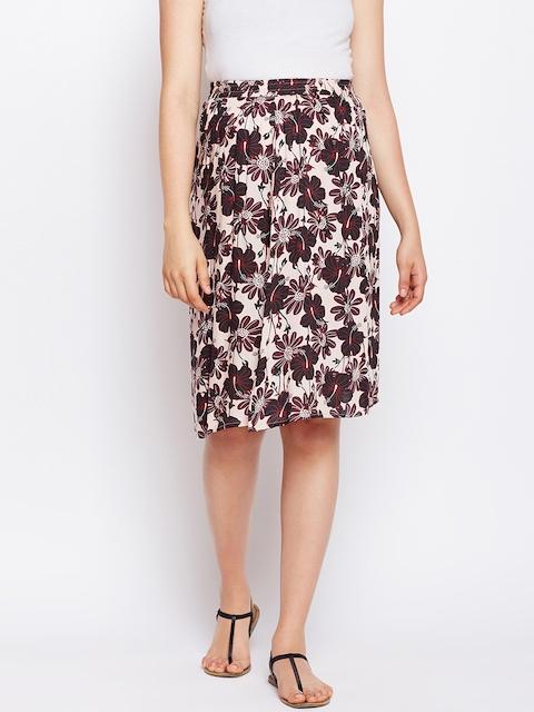 Oxolloxo Women Cream-Coloured & Black Printed Maternity Midi Skirt