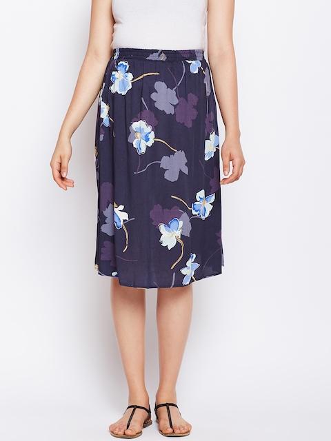 Oxolloxo Women Navy Blue Printed Maternity Skirt