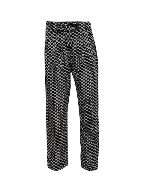 Oxolloxo Girls Black Regular Fit Printed Regular Trousers