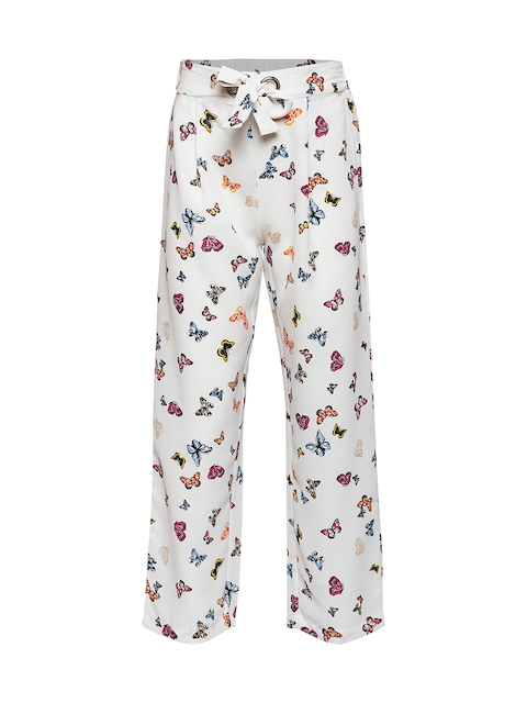 Oxolloxo Girls White & Blue Printed Parallel Trousers