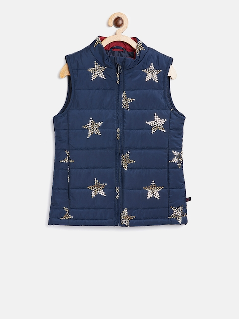 United Colors of Benetton Girls Navy Blue & Gold-Toned Star Print Padded Jacket