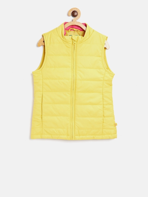 United Colors of Benetton Girls Yellow Solid Padded Jacket