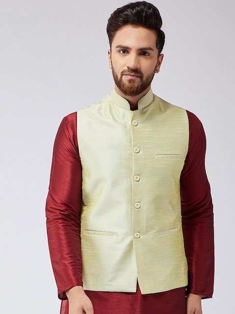 SOJANYA Lime Green Woven Design Nehru Jacket