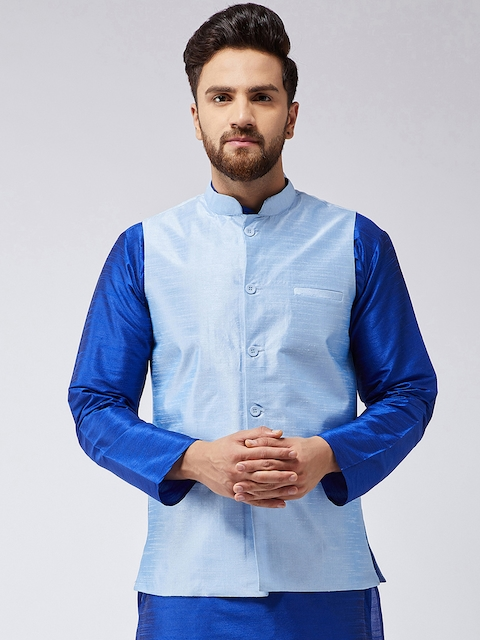 Sojanya Men Turquoise Blue Solid Nehrujacket