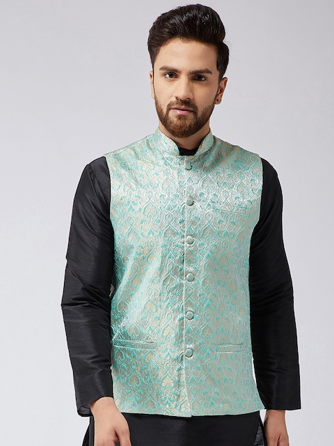 SOJANYA Green Printed Nehru Jacket
