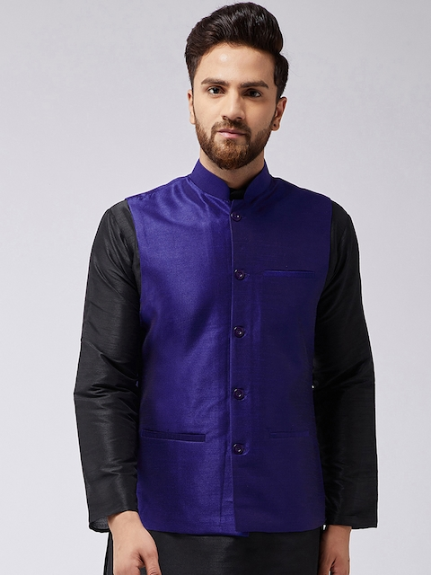 Sojanya Men Blue Solid Nehrujacket