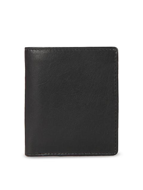 Leather Zentrum Men Black Solid Two Fold Wallet