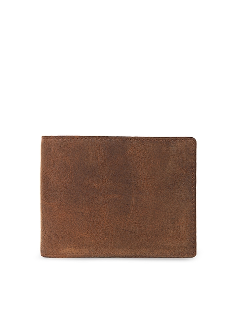 Leather Zentrum Men Brown Solid Two Fold Genuine Leather Wallet