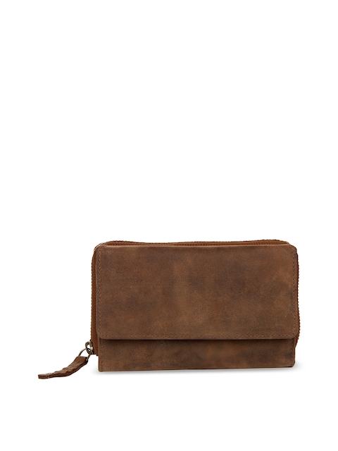 Leather Zentrum Women Brown Solid Genuine Leather Three Fold Wallet