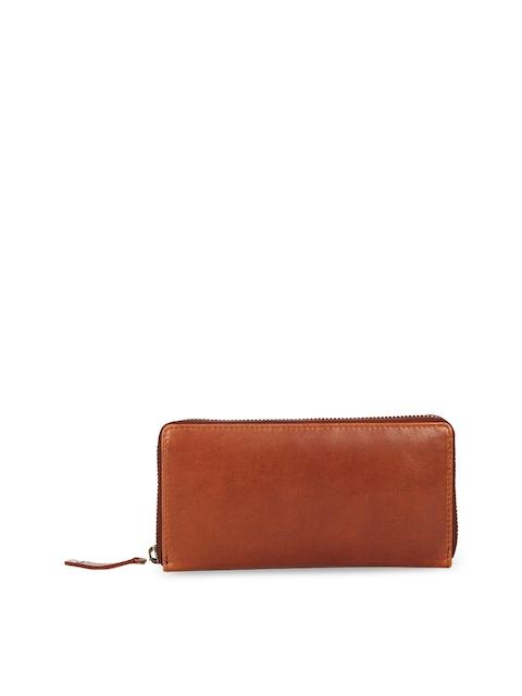 Leather Zentrum Women Tan Solid Zip Around Genuine Leather Wallet