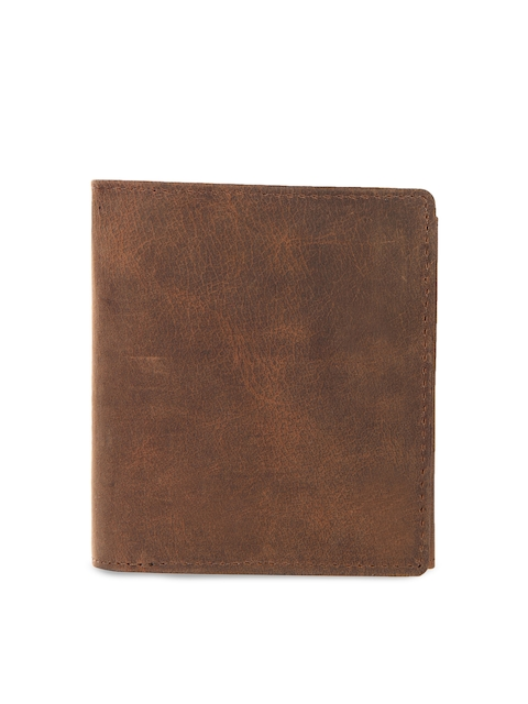 Leather Zentrum Men Brown Solid Genuine Leather Two Fold Wallet
