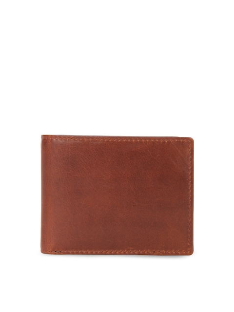 Leather Zentrum Men Tan Brown Solid Genuine Leather Two Fold Wallet