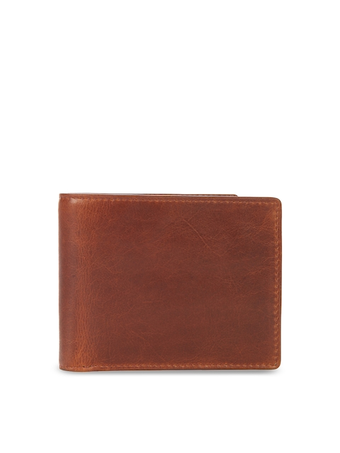 Leather Zentrum Men Tan Solid Two Genuine Leather Fold Wallet