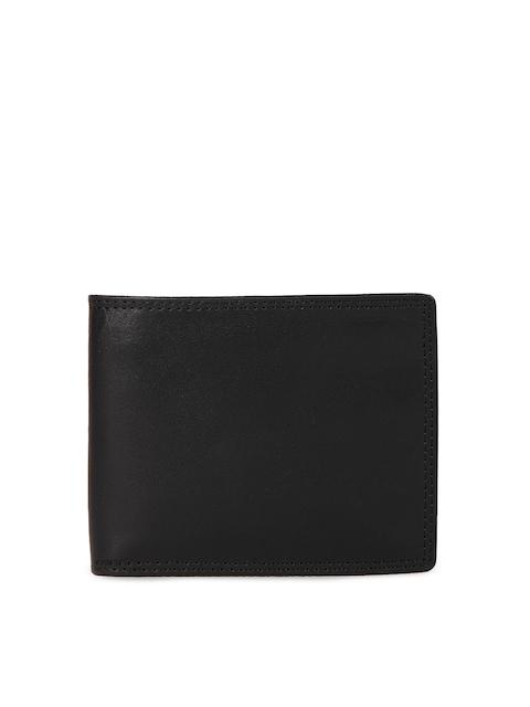 Leather Zentrum Men Black Solid Genuine Leather Two Fold Wallet