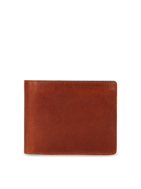 Leather Zentrum Men Tan Solid Two Fold Genuine Leather Wallet