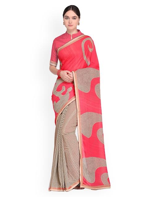 Ishin Beige & Coral Pink Printed Saree