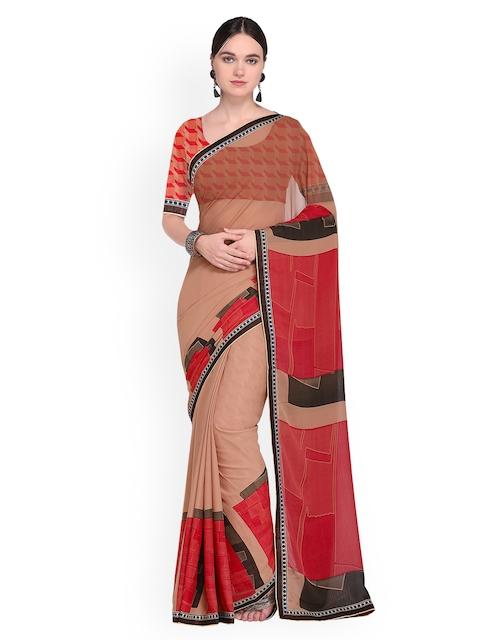 Ishin Beige & Red Printed Saree