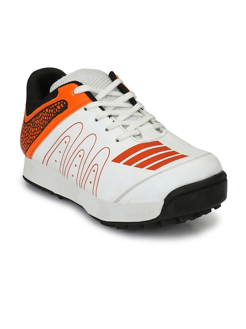 Sir Corbett Men White & Orange Printed Cricket Shoes
