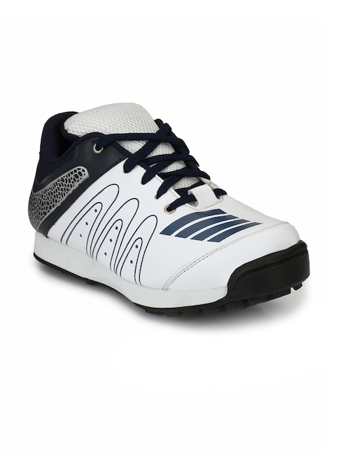 Sir Corbett Men White & Navy Blue Printed Cricket Shoes