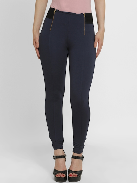 Kazo Women Navy Blue High-Rise Slim Fit Stretchable Jeggings